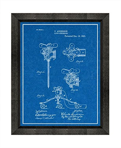 Lawn sprinkler patent art blueprint print with a border in a beveled youre viewing lawn sprinkler patent art blueprint print with a border in a beveled black wood frame 5 x 7 m15180 3495 malvernweather Gallery